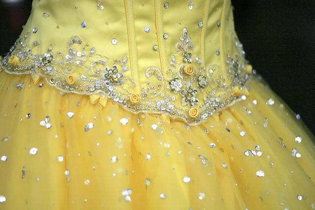 Sweetheart chiffon beaded white 2014 wedding yellow dresses