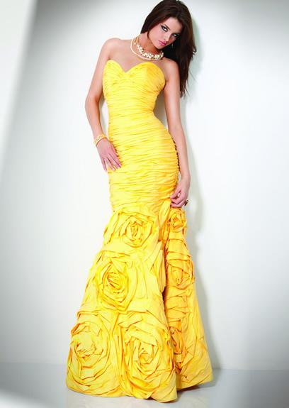 faddish yellow strapless