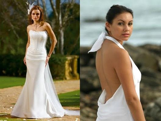 Holoku the native Hawaiian wedding dress