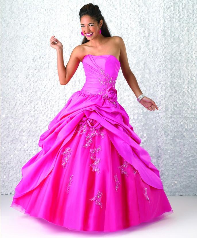 Strapless hot pink wedding dresses