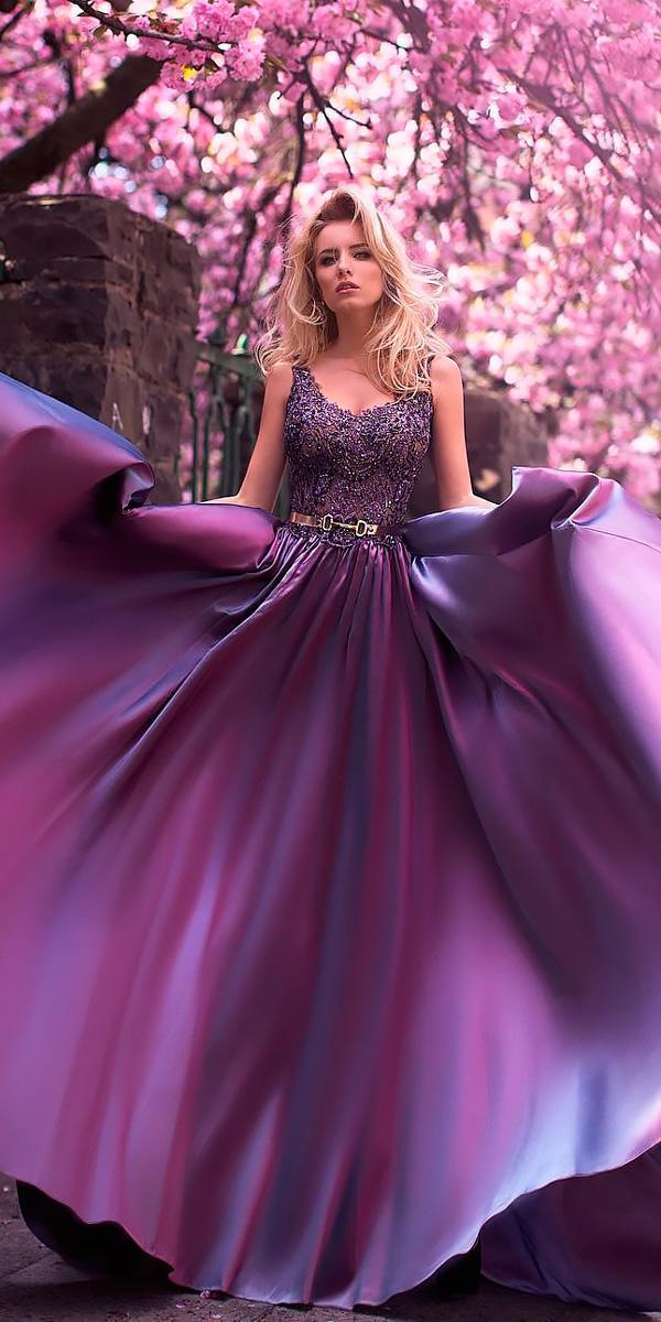 A Line Dark Scoop Neckline Sleeveless Purple Wedding Dresses Oksana Mukha
