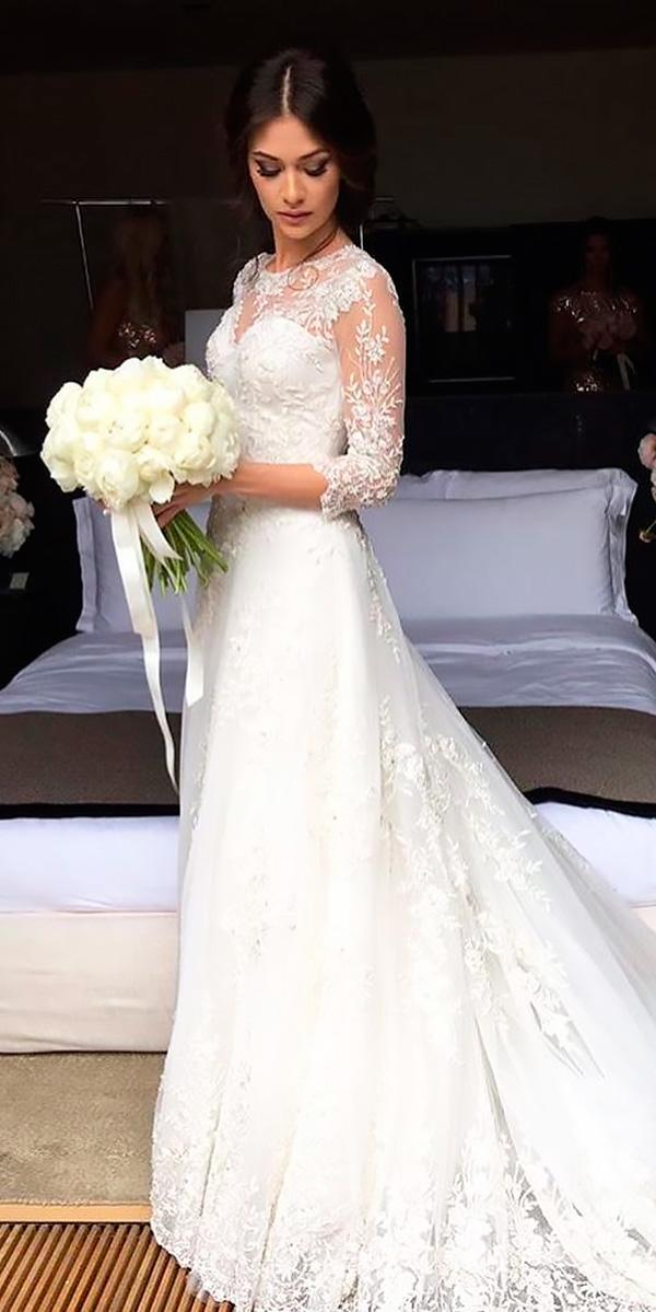 a line lace long sleeved illusion sweetheart neck expensive wedding dresses lyalina