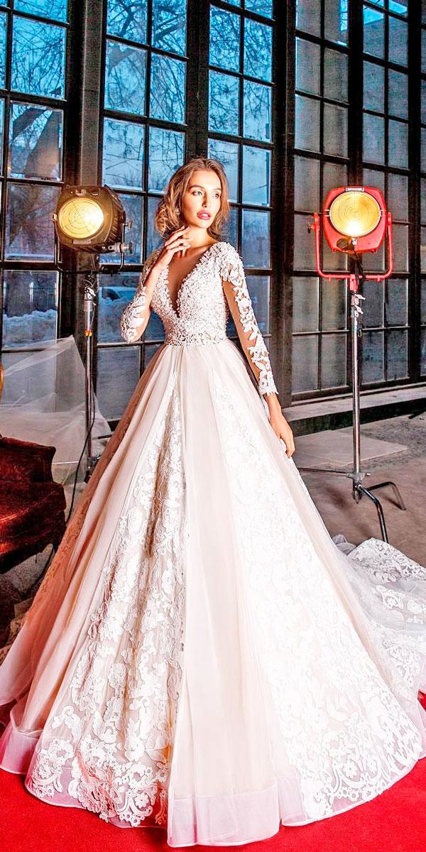 ball gown deep v neck lace with long sleeves pink wedding dresses elena vasylkova