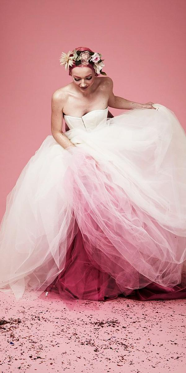 ball gown ombre strapless sweetheart neck pink wedding dresses gem harris
