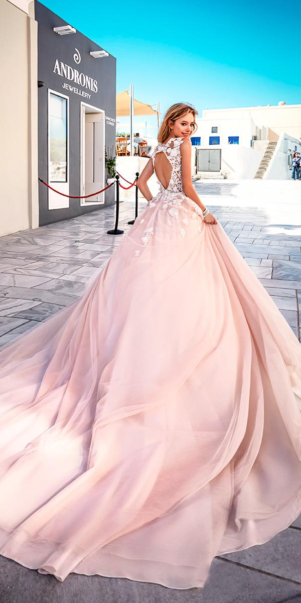 ball gown open back heavily embellished bodice pink wedding dresses eva lendel