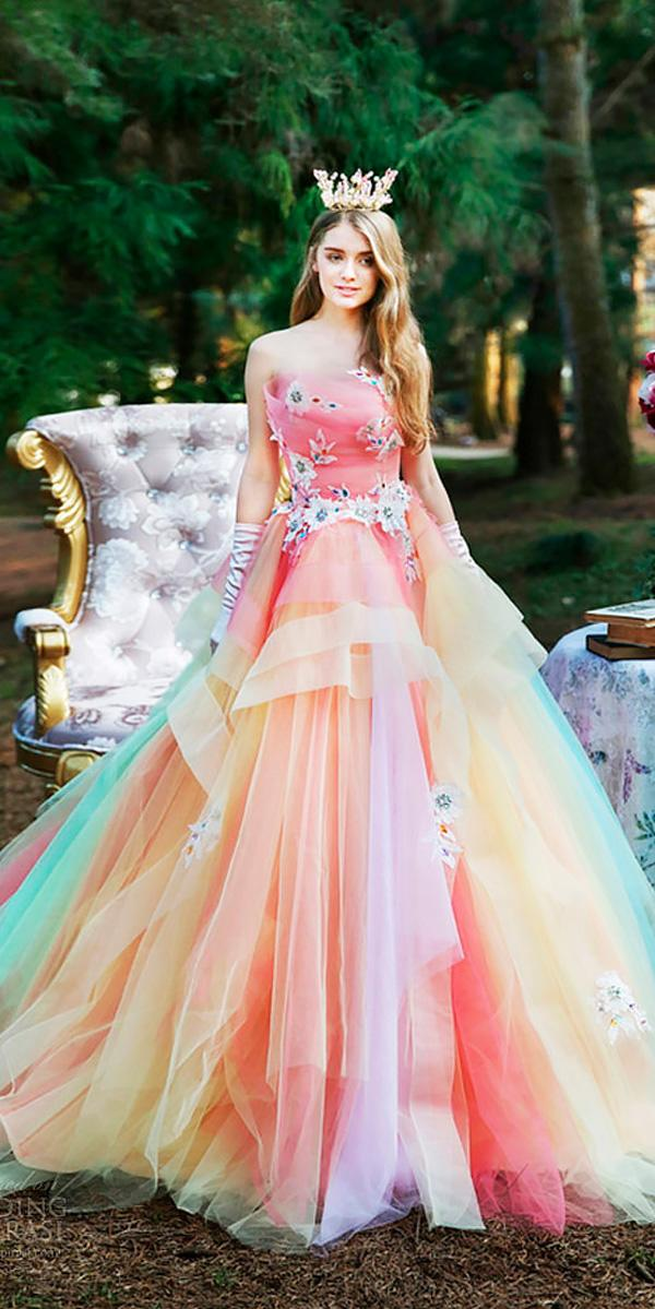 ball gown strapless neck ombre- pink wedding dresses tiglily