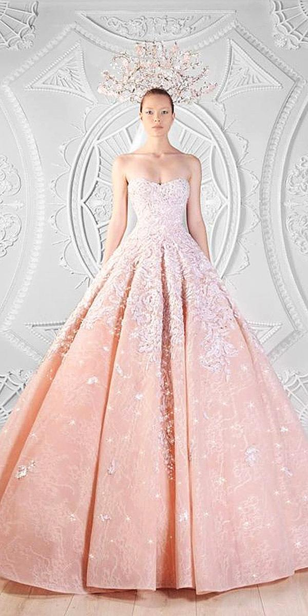ball gown strapless sweetheart neck ombre pink wedding dresses rami kadi