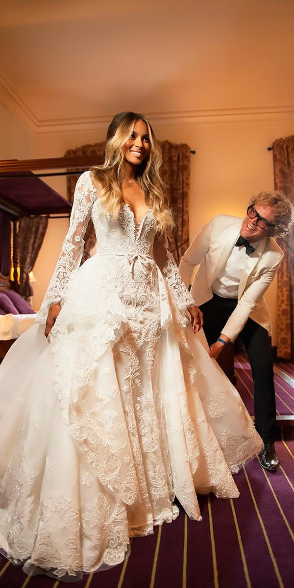 ball gown sweetheart long sleeved lace expensive wedding dresses roberto cavalli