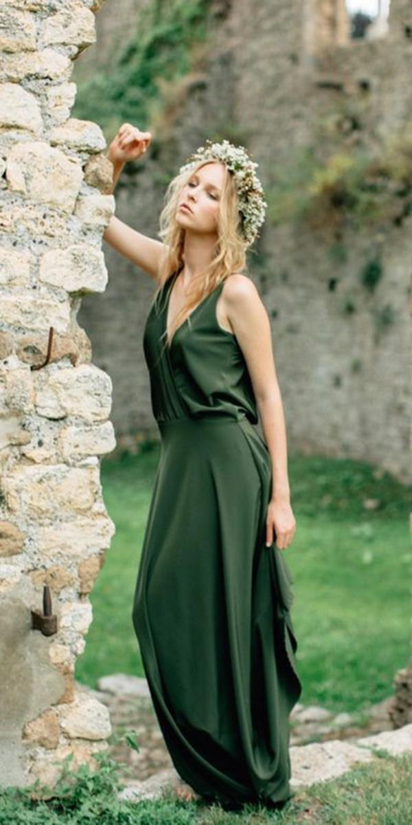 18 green wedding dresses for non traditional bride wedding dresses green wedding dresses long v neckline simple colored janna warm junglespirit Image collections