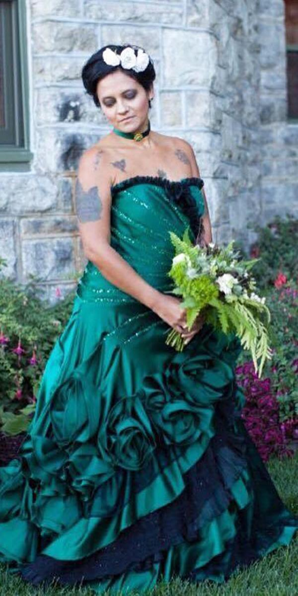 green wedding dresses a line strapless forest colored dress fantasy