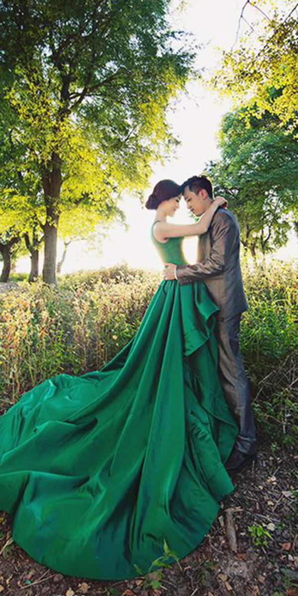 green wedding dresses ball gown forest simple axioo photography