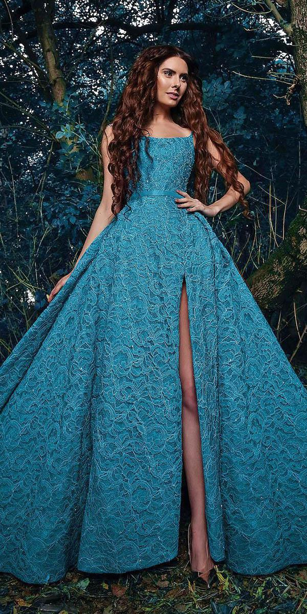 green wedding dresses ball gown with slit colored sadek majed couture
