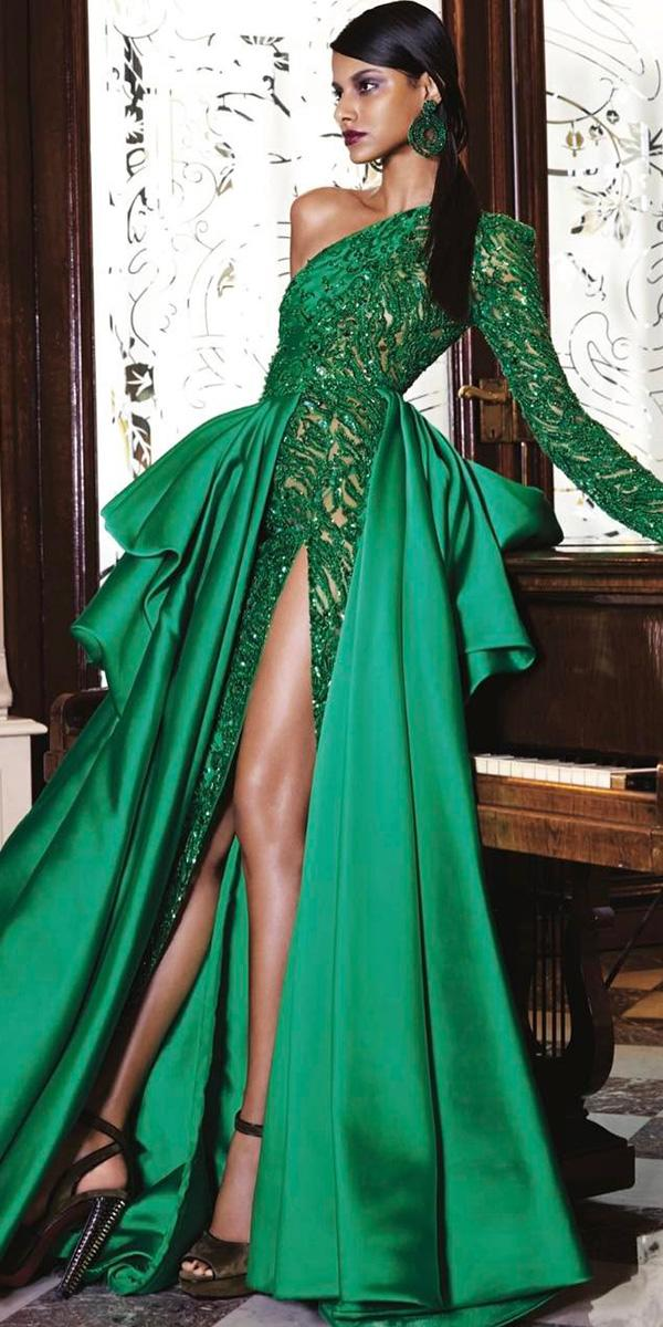 Green Wedding Dresses One Shoulder With Overskirt Colored Zuhair Murad