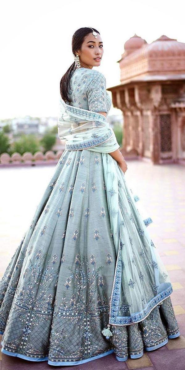 indian wedding dresses a line blue modern desi couture