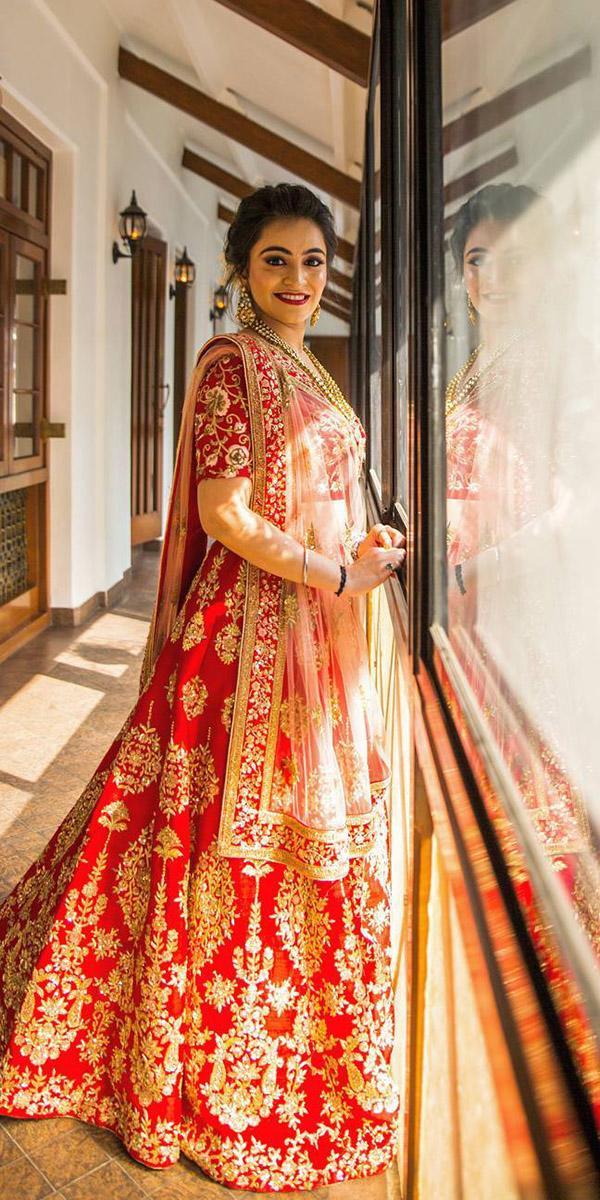 indian wedding dresses lehenga red with gold kalki fashion