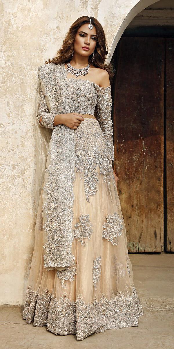 indian wedding dresses long lehenga off the shoulder silver appliques desi couture