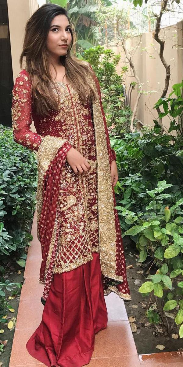 indian wedding dresses traditional lehenga with sleeves red nimrah khokhar