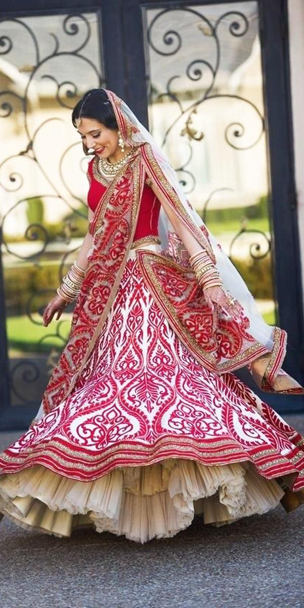 indian wedding dresses traditional red with cape utsav fashion