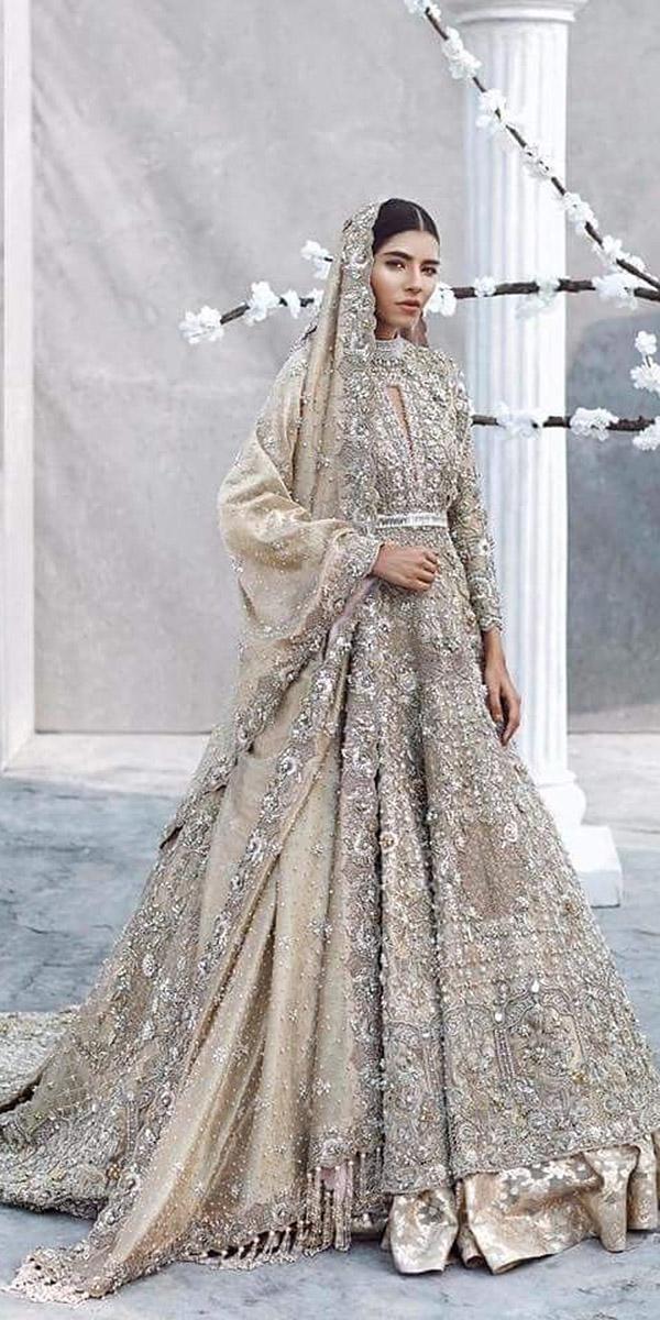 indian wedding dresses white lehenga with silver pakistani couture