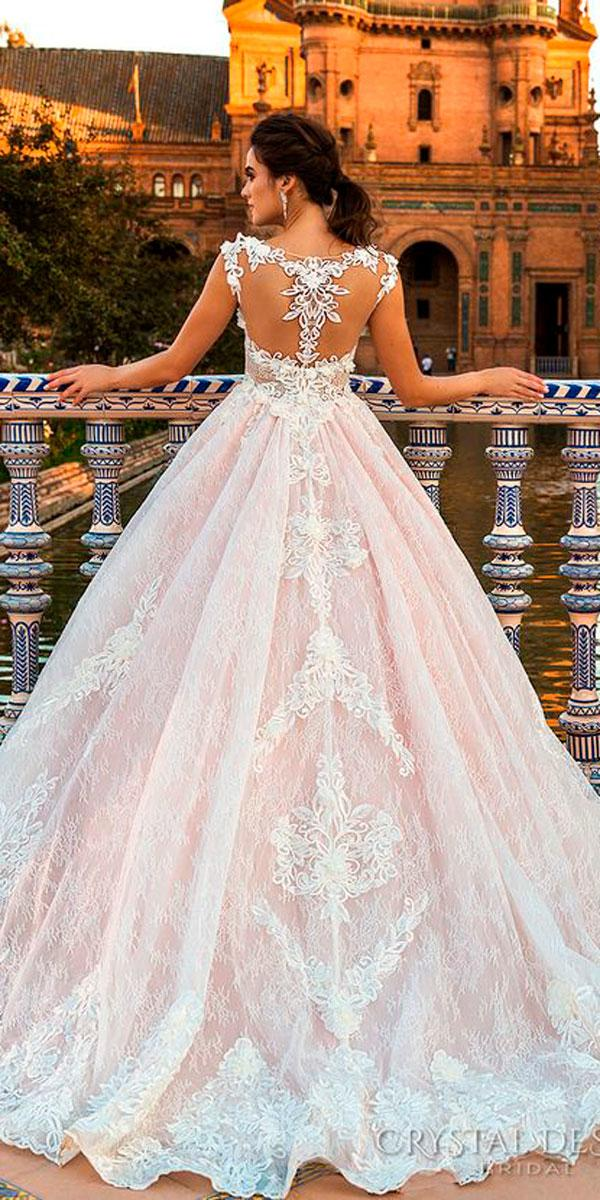 lace ball gown illusion back pink wedding dresses crystal design