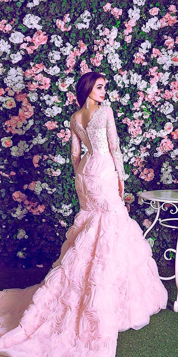 mermaid pink wedding dresses with long sleeves habibi