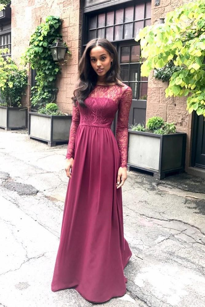 red bridesmaid dresses for wedding with long lace sleeves burgundy hayley paige occasions