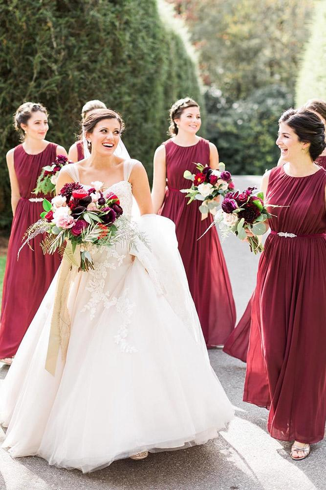 red bridesmaid dresses long dark chiffon jenny yoo