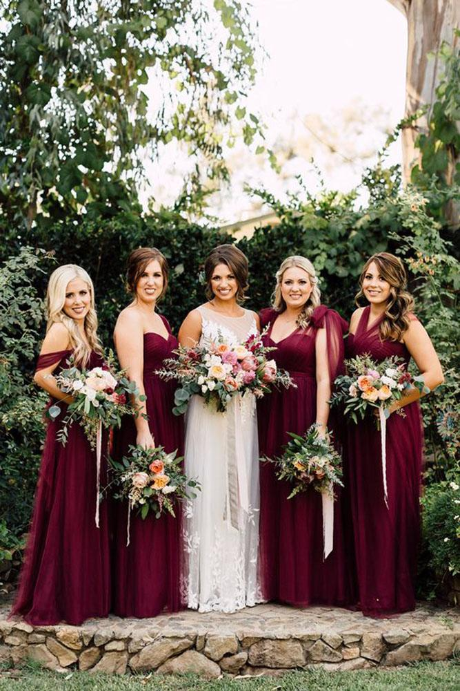 red bridesmaid dresses long dark mismatched by plum and oak