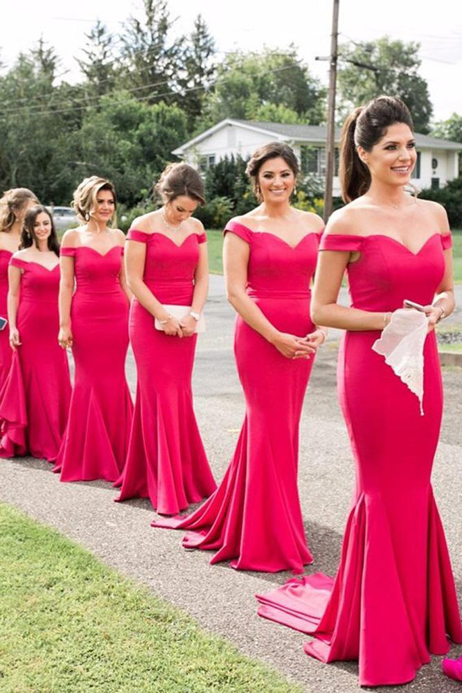 red bridesmaid dresses long memaid off the shoulder white runway