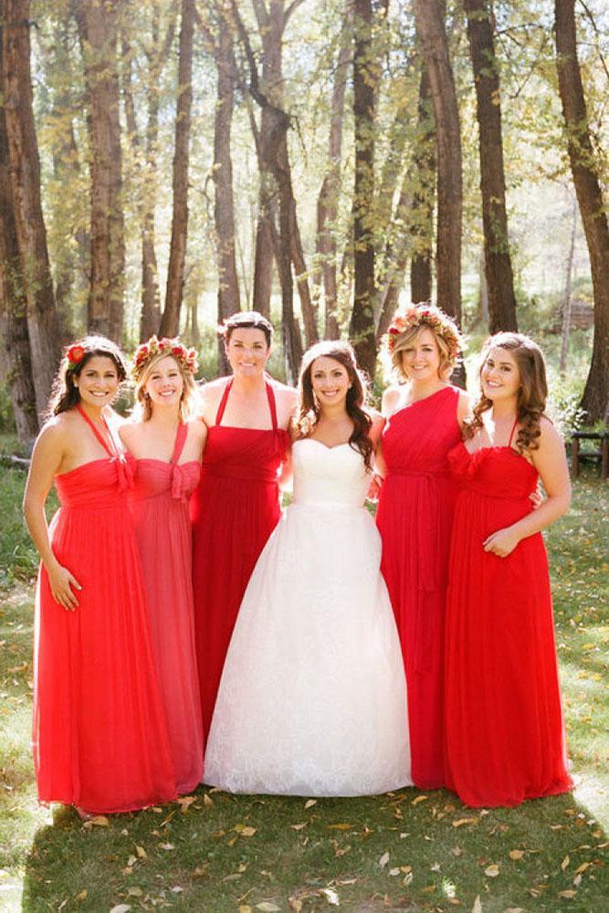 red bridesmaid dresses long mismatched bright aron delesie