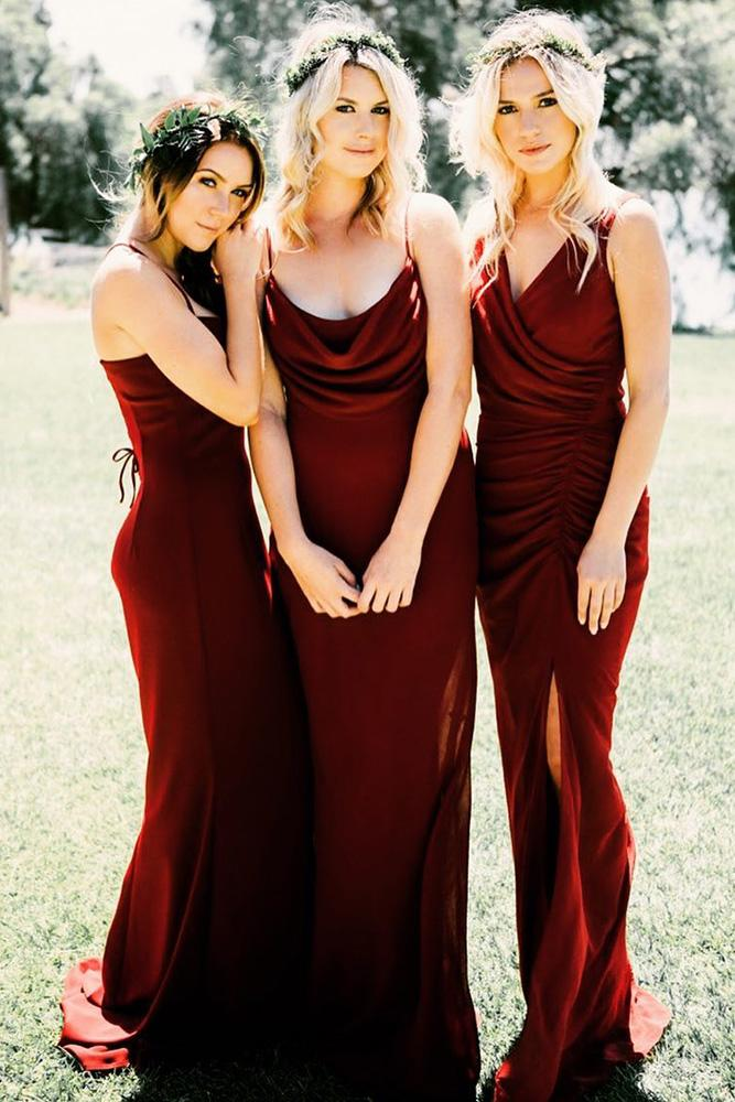 red bridesmaid dresses long mismatched dark katie may collection