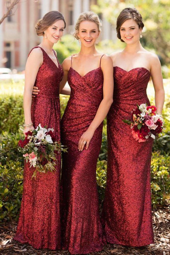 red bridesmaid dresses long mismatched sequins sorella vita