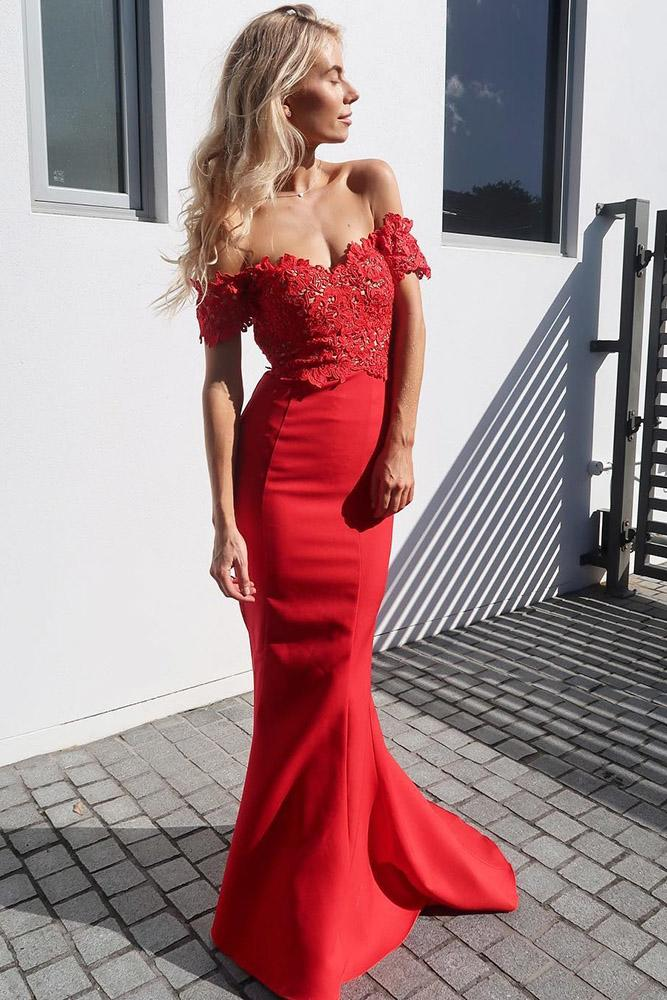 red bridesmaid dresses long off the shoulder lace white runway