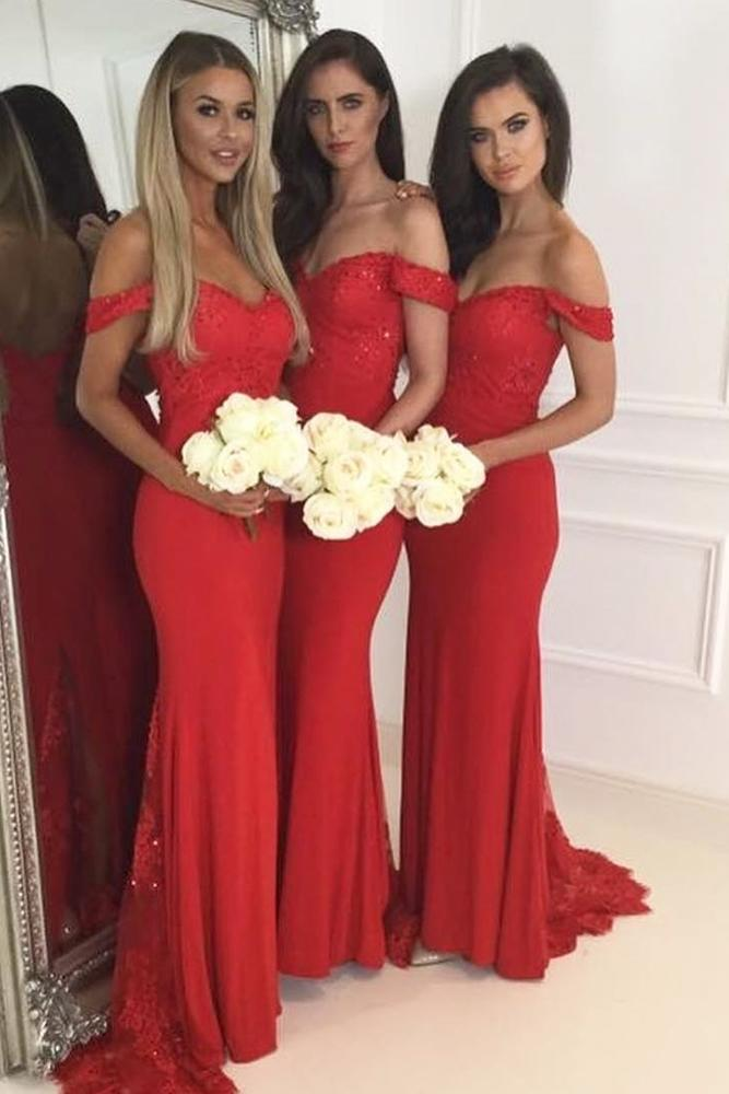 red bridesmaid dresses long off the shoulder sequins doll house
