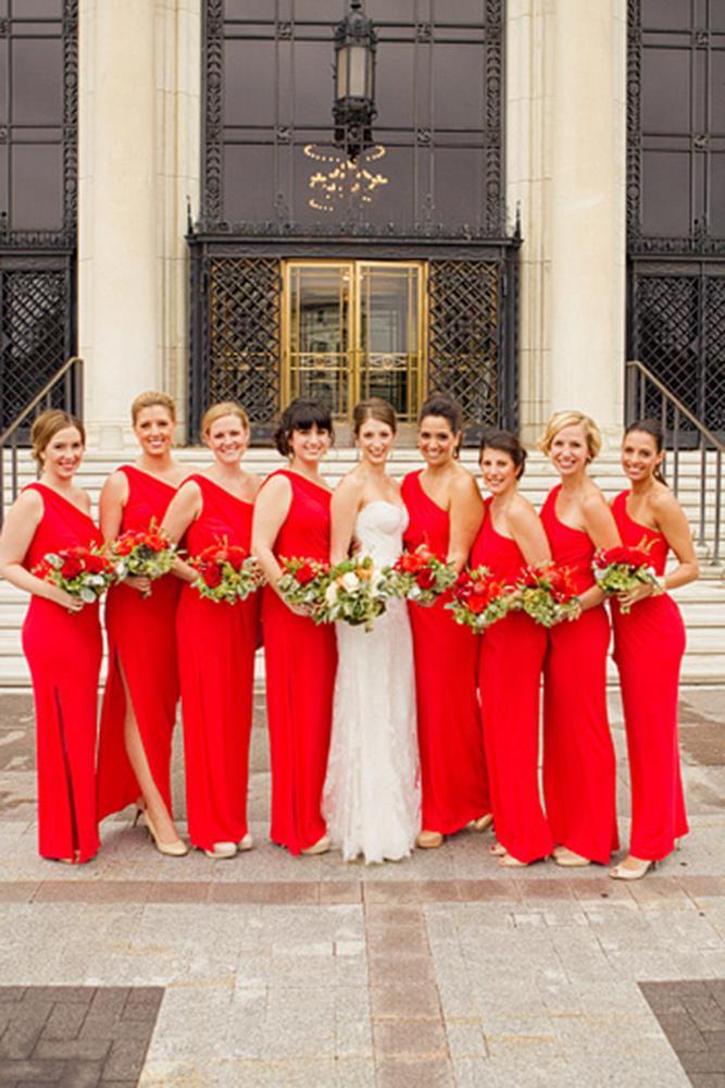 red bridesmaid dresses long one shoulder assymetric harrison studio