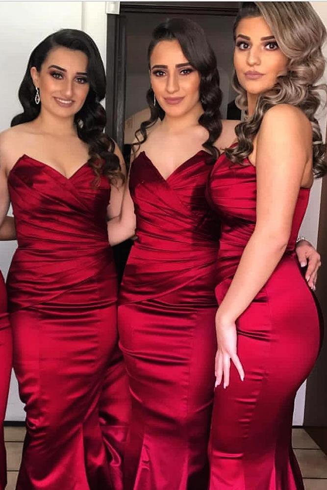 red bridesmaid dresses long sweetheart strapless bright doll house
