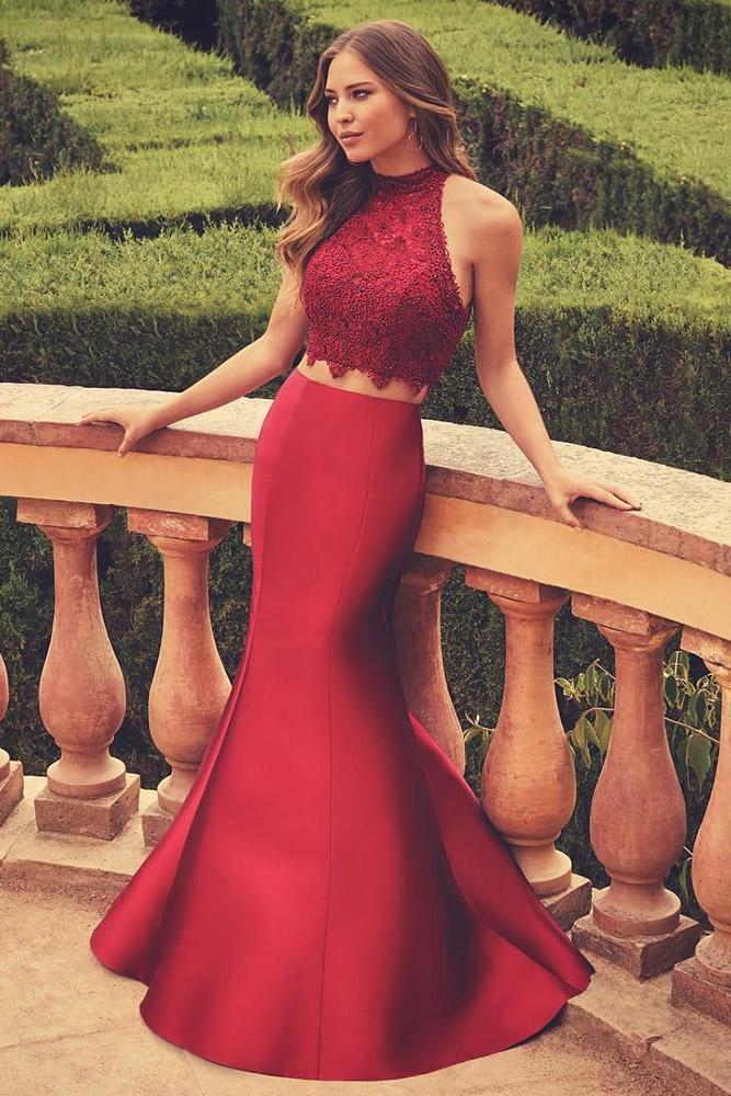 red bridesmaid dresses mermaid halter neckline lace top alyce paris