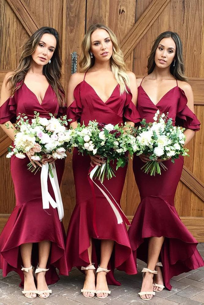 red bridesmaid dresses mermaid with straps off the shoulder bright white runway