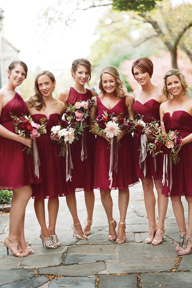 red bridesmaid dresses short mismatched burgundy liz banfield