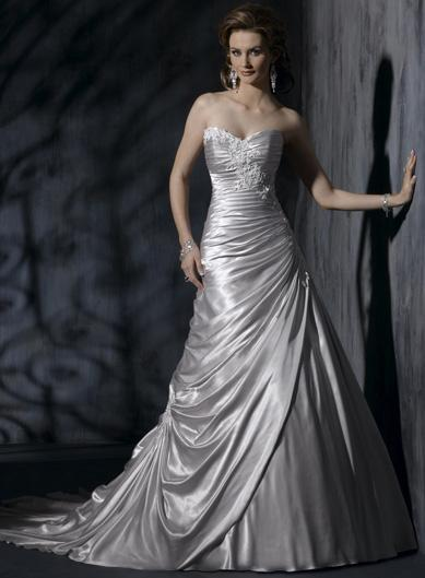 silver wedding gown