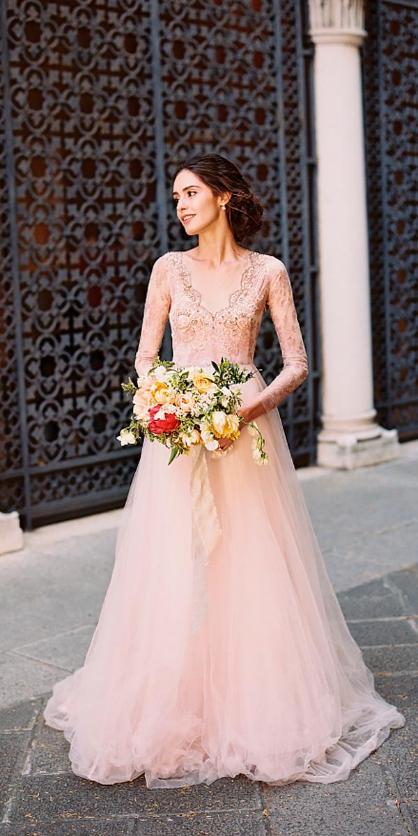simple a line lace v neck with long sleeves pink wedding dresses eric kelley