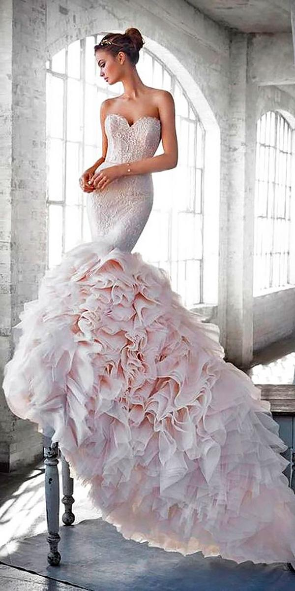 strapless mermaid blush wedding dresses lazaro