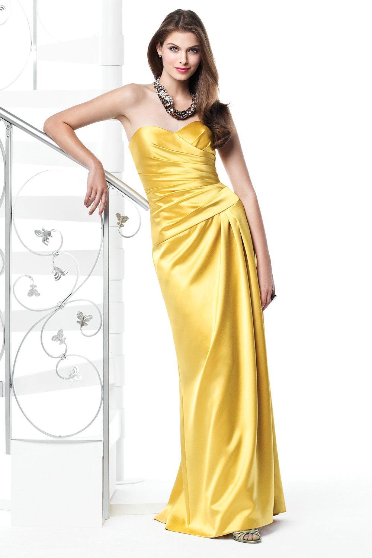 Yellow Satin Bridesmaid Dresses