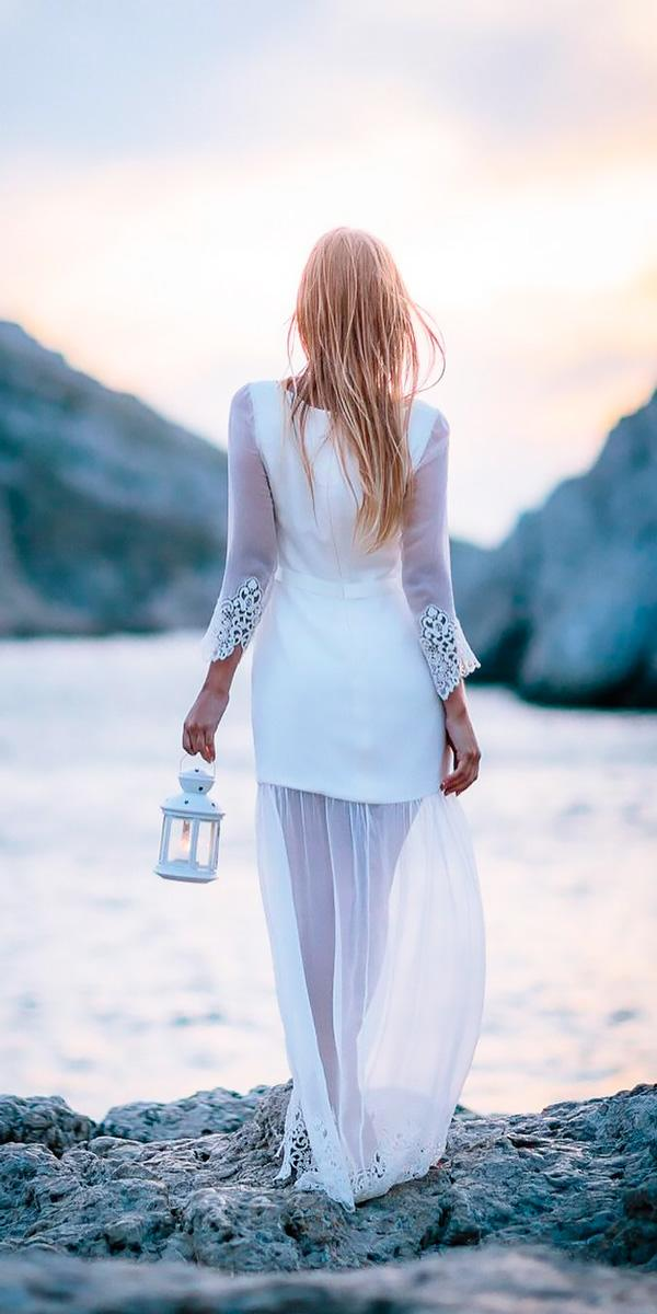 beach wedding dresses short with illusion skirt and long sleeves ian holmes