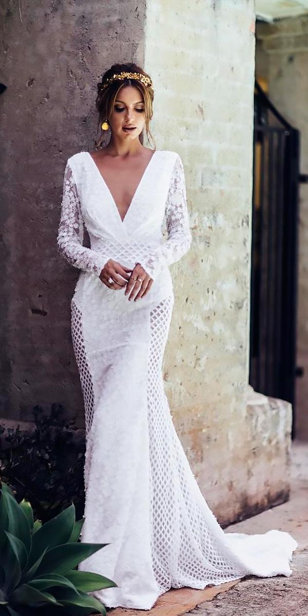 beach wedding dresses v neckline sheath with long sleeves georgia young couture