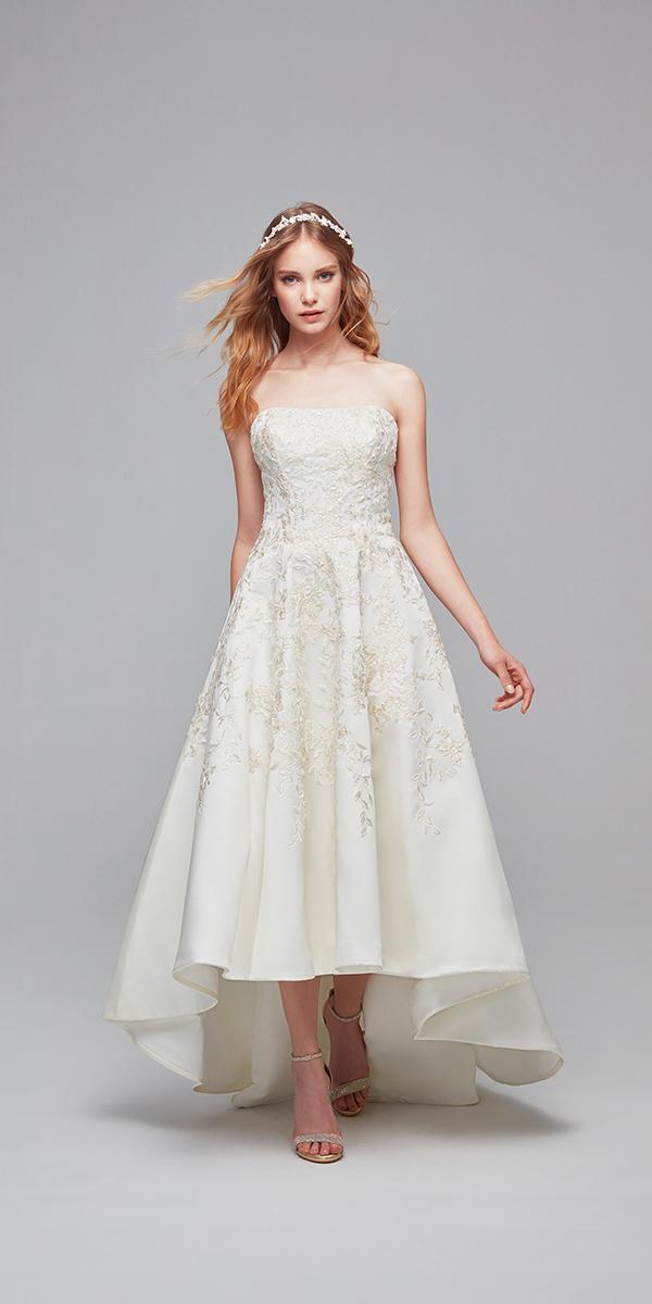 cheap oleg cassini wedding dresses high low strapless neckline floral satin