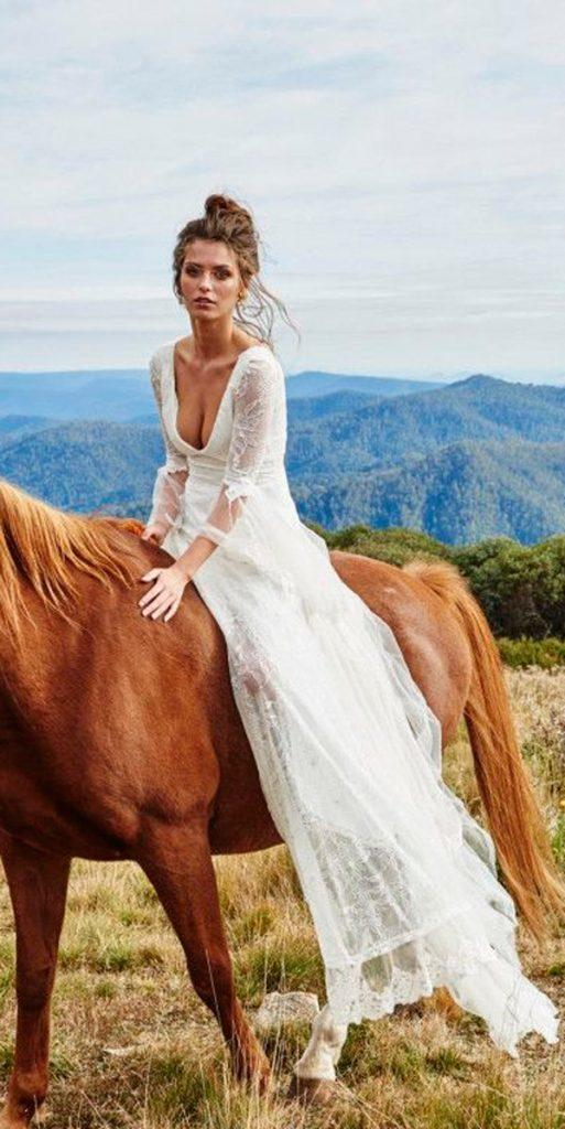 country western wedding dresses straight scoop neckline lace with sleeves grace loves lace