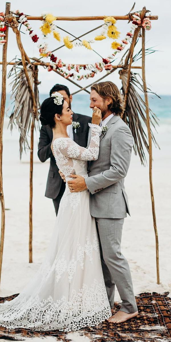hawaiian wedding dresses a line with long sleeves lace embroidered dreamers and lovers