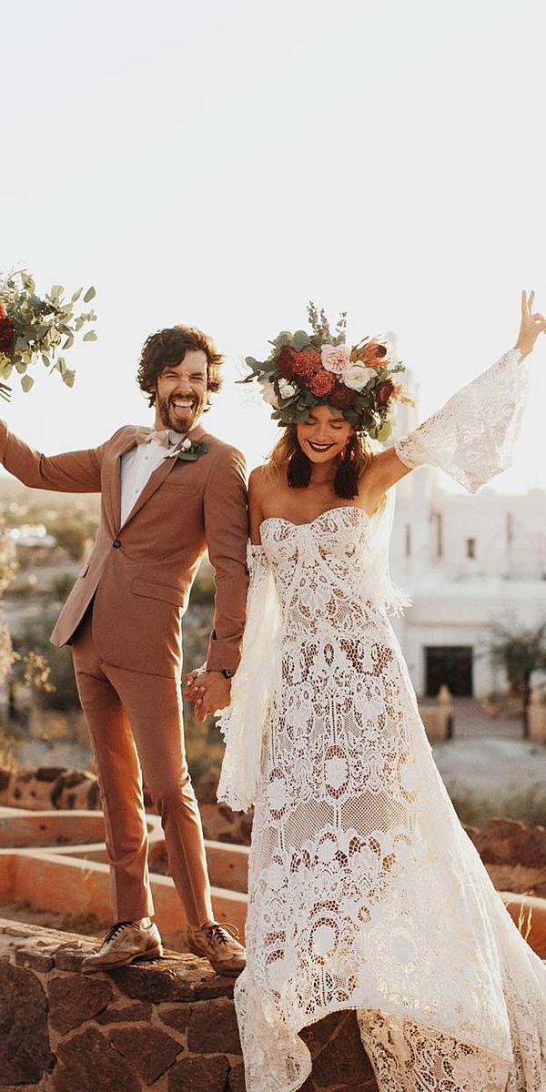 hawaiian wedding dresses sweetheart full lace embellishment boho junebug weddings