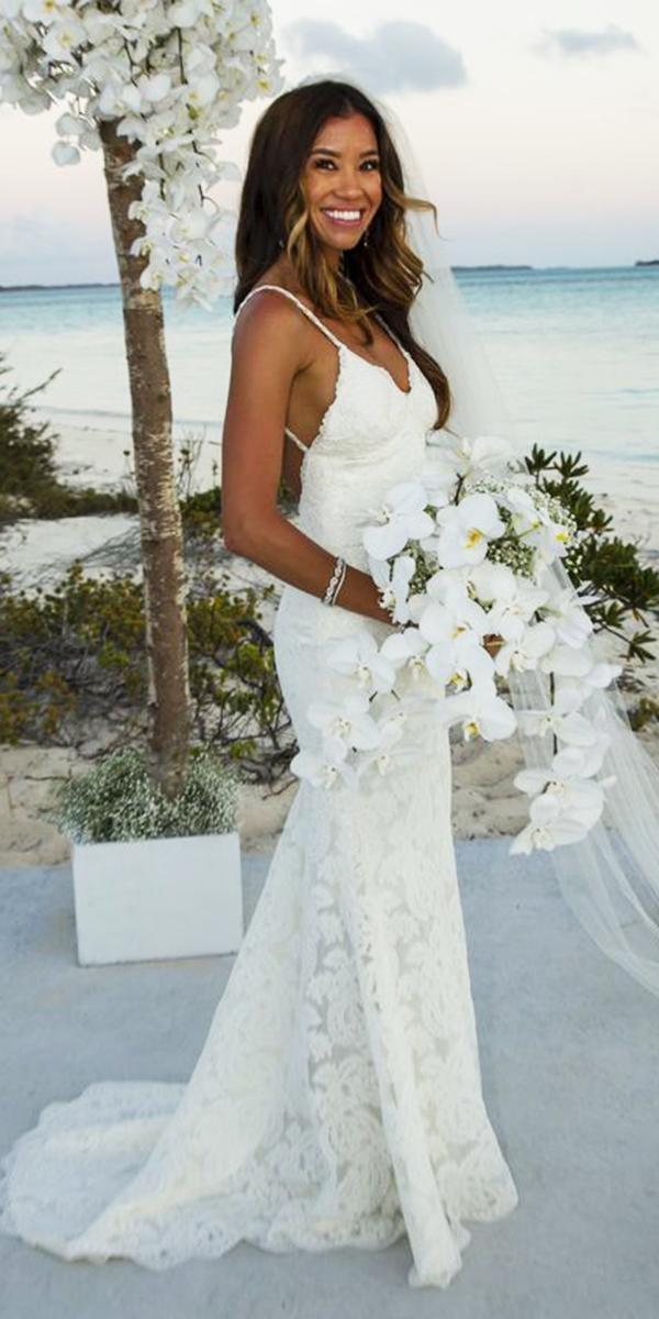 hawaiian wedding dresses with straps sheath lace embellishment katie may